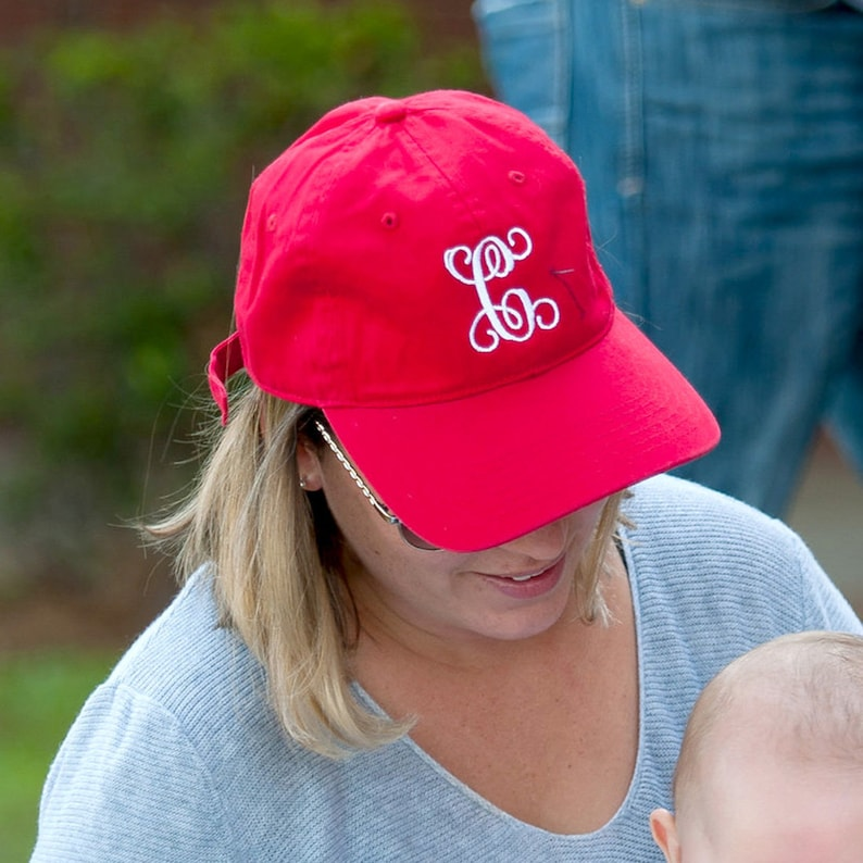 115209f6981f5 Personalized Adult Womens Red Ball Cap * Custom Embroidered Game Day Hat  with Name or Monogram * Monogrammed Ladies Gift