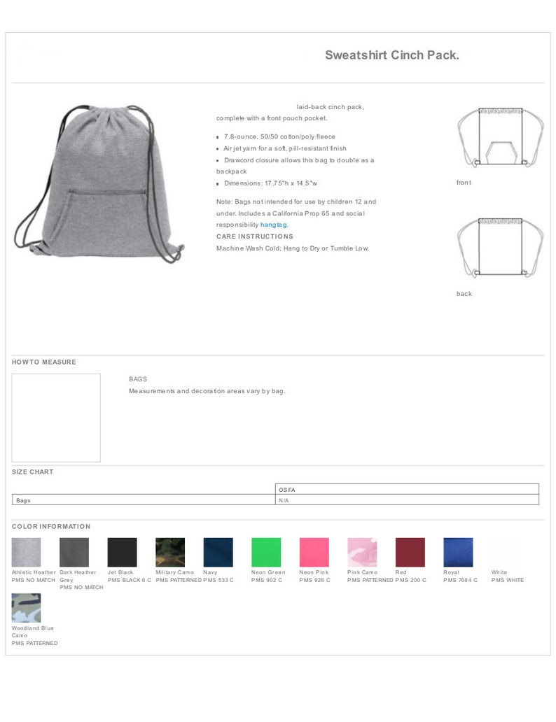 Backpack Personalized Fleece Sweatshirt Drawstring Cinch Pack Custom Bags with Name or Monogram 12 Color Choices Gift Tote Bag