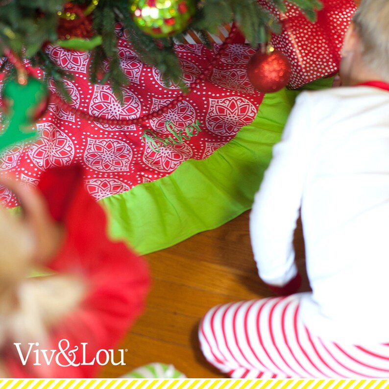Red /& Green Geometric Monogrammed Christmas Decor Custom Embroidered Tree Skirts Personalized Holiday Noel Ruffle Tree Skirt