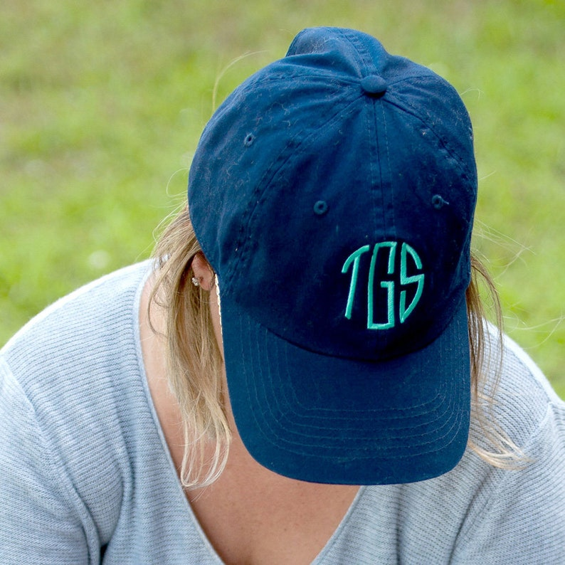 eebda4a3d89c9 Personalized Navy Blue Ball Cap * Custom Embroidered Adult Womens Game Day  Hat with Name or Monogram * Monogrammed Ladies Gift