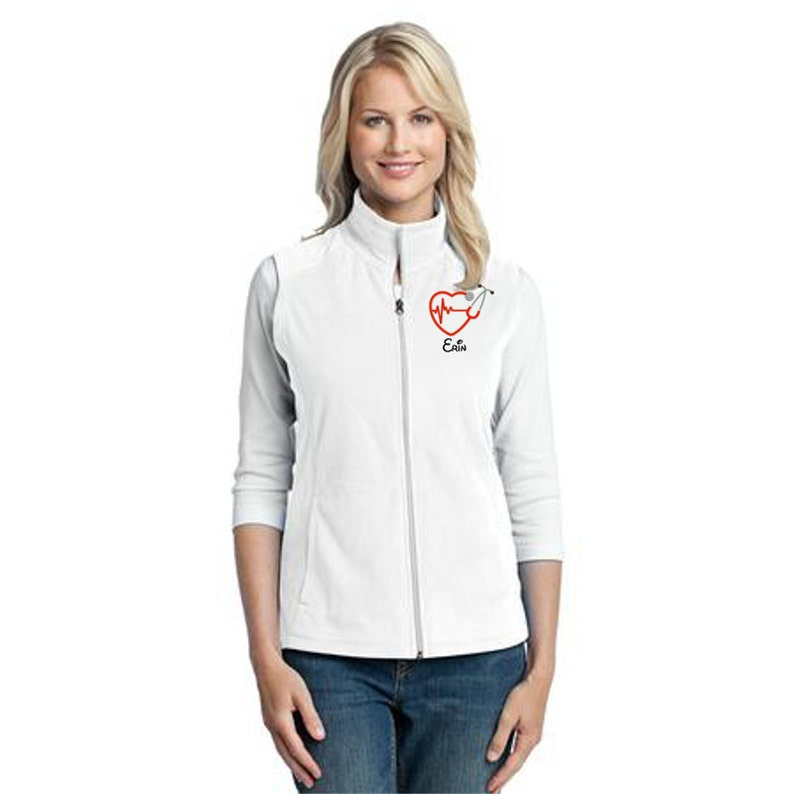 RN Nurse Jacket Grey Heart Stethoscope Ladies Lightweight Fleece Full Zip Customized