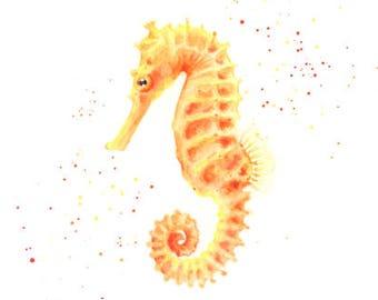 seahorse print, seahorse wall art, seahorse art, bathroom art print, under the sea, sea life prints, yellow bathroom, bathroom wall art, sea