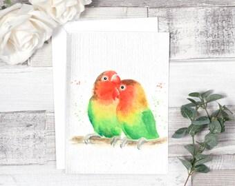 love birds card, valentines day card, bird card, wedding card, anniversary card, engagement card, bird lover, lovebirds, love card, birthday