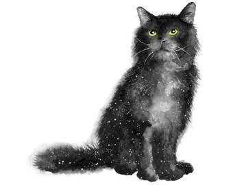 celestial print, celestial watercolor, black cat print, black cat gift, cat print, celestial art, black cat art, cat watercolor, cat lover