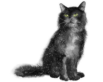 black cat print, black cat art, cat art print, black cat gifts, cat lover gift, cat lady, cat home decor, cat print, cat art, animal print