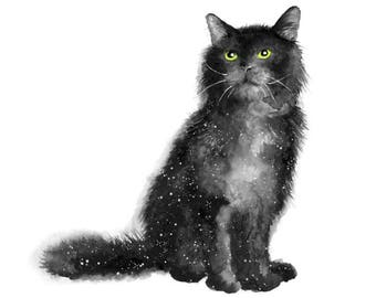 cat print, cat lover gift, cat painting, cat gifts, black cat art, black cat print, black cat gifts, star print, boho art print, watercolour