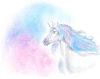 unicorn gift, pastel unicorn, unicorn print, unicorn birthday gift, unicorn gift woman, unicorn nursery, unicorn wall art, pastel bedroom,