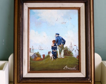 Oil Painting Sailor and Boy Norman Rockwell Painting Outward Bound Signed Manuel