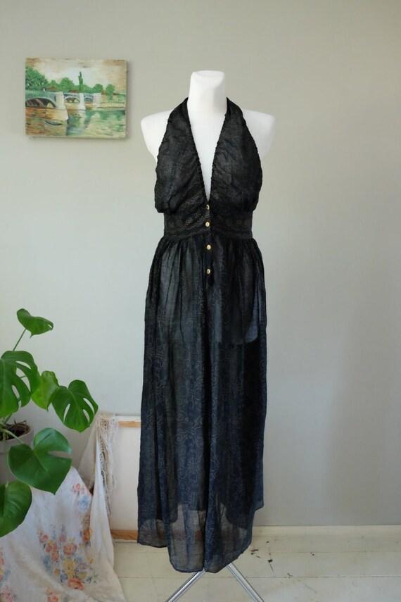 70s Vintage gauze dress black golden dots halter t