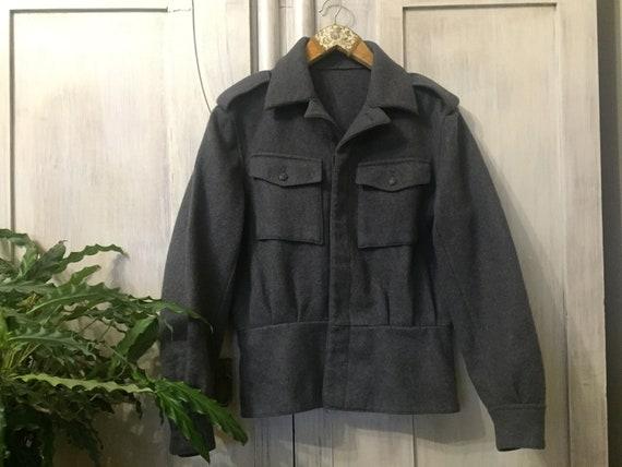 70s 80s Vintage wool jacket grey military jacket m