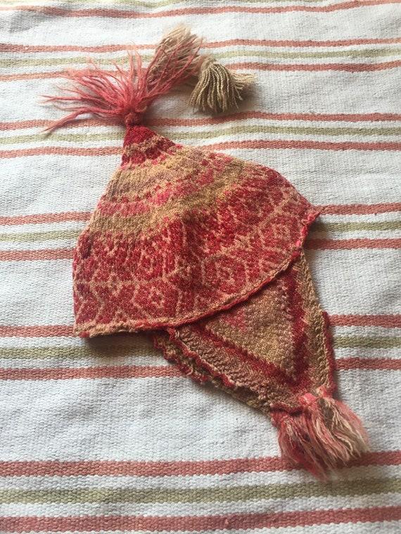 60s Vintage Peruvian hat Peruvian Chullo Hand knit