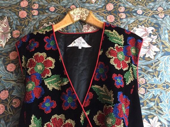 90s Vintage vest black velvet embroidered cross st