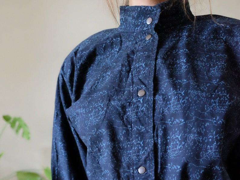 Vuokko Finland Design 70s 80s Vintage dress Navy blue Abstract print Buttoned Shirt dress Medium Large M L