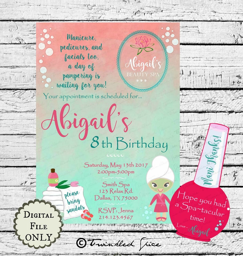 Beauty Spa Salon Birthday Party Invitation Printables Etsy