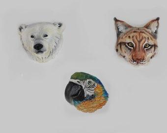 Animal totem cabochons polar bear lynx parrot form polymer clay
