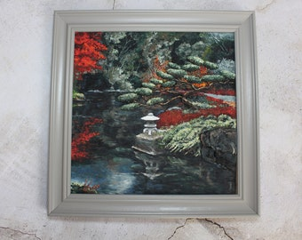 Asian garden Kyoto picture in frame from polymer clay