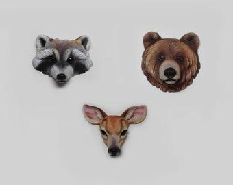 Wild animal totem cabochon form polymer clay  roe deer raccoon  bear