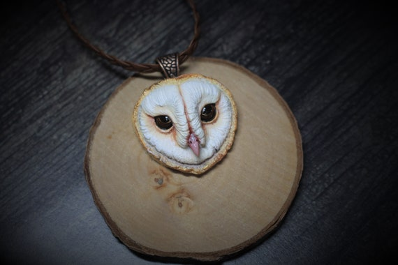 Barn owl necklace from polymer clay barn owl head charm barn owl
