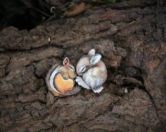 Wild sleeping animals cabochnos form polymer clay Chipmunk and bunny