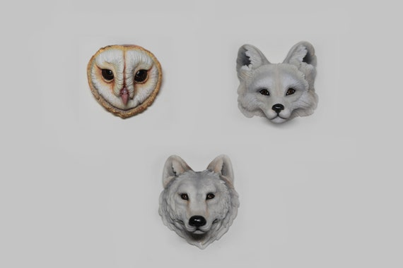 Wild animal totem cabochon form polymer clay fox  wolf owl