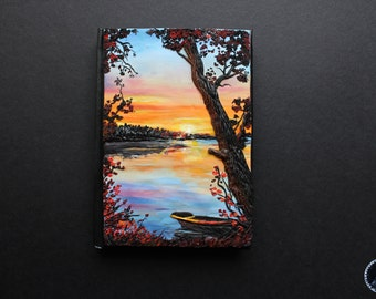 Sunset over the lake polymer clay notebook Journal cover