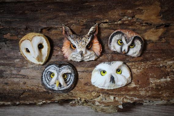 Owl cabochons from polymer clay barn owl snowy owl animal cabochons