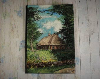 Slavic village spring season polymer clay notebook cover polymer clay painting