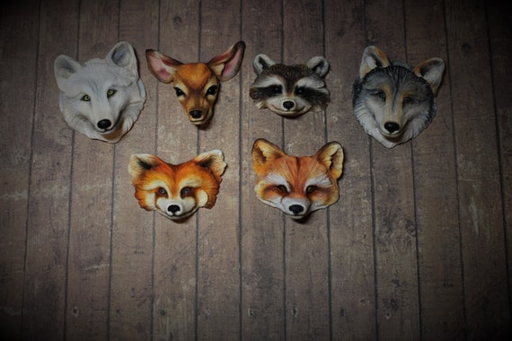 Animal totem cabochons to decorate creations wolf, raccoon, roe deer,fox, red panda