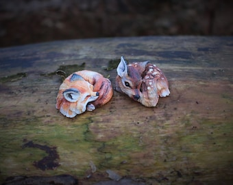 Wild sleeping animal totem cabochon form polymer clay roe deer and fox