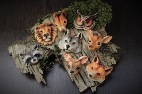 Animal totem cabochons to decorate creations wolf, raccoon, roe deer, red squirrel, owl, fox, giraffe, lion