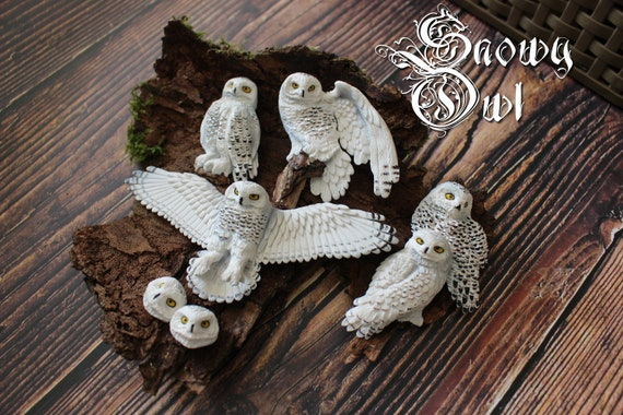 Snowy owl cabochons bird cabochons from polymer clay to make a jewellery