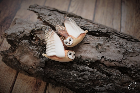 Small barn owl earrings from polymer clay free shipping!
