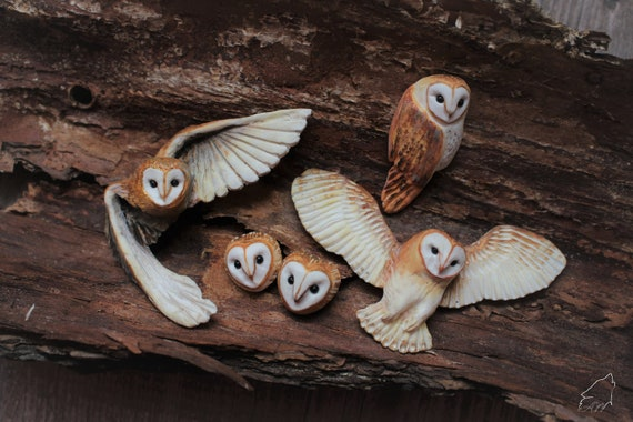 Barn owl cabochons SET from polymer clay