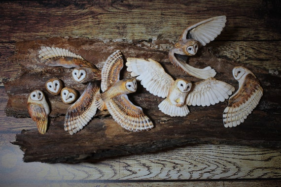 BARN OWL cabochons from polymer clay