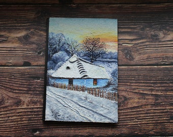 Winter on the old village seasons polymer clay paiting notebook front cover A5
