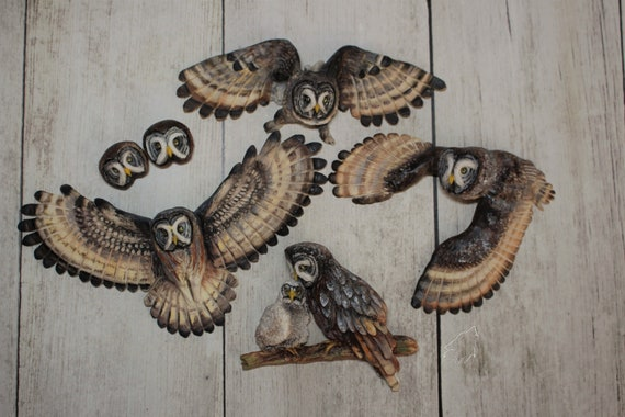 Great Grey Owl cabochons strix nebulosa from polymer clay owl totem cabochons