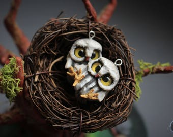 Cute little owls earrings from polymer clay