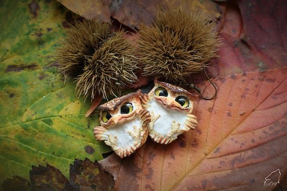 Cute little baby owl earrings from polymer clay