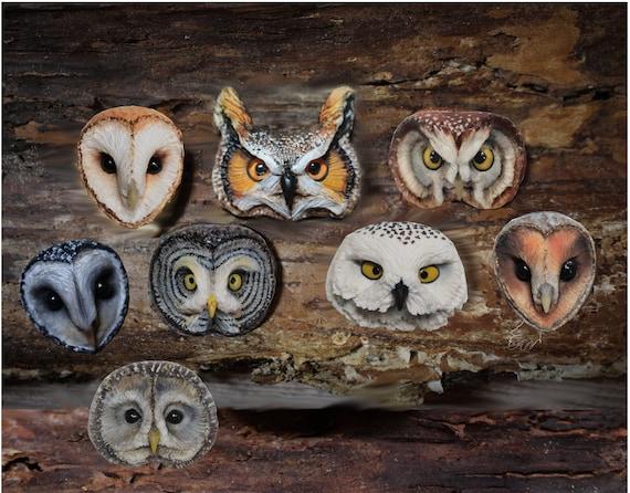 Owl head cabochons from polymer clay barn owl snowy owl animal cabochons