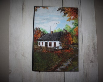 Autumn in the old village seasons polymer clay paiting notebook front cover A5