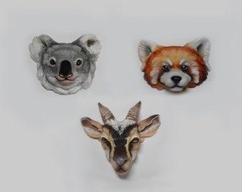 Polymer clay cabochons/charm animal totem koala bear red panda goat