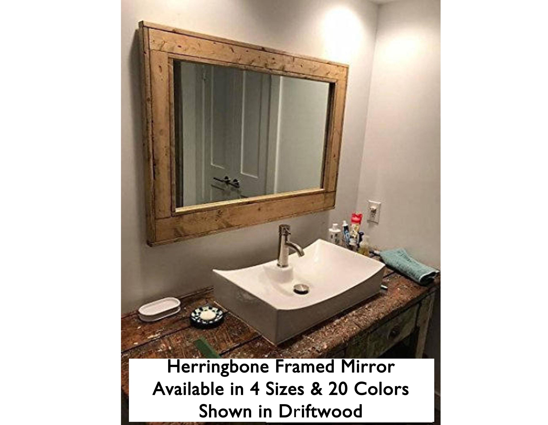 Large Framed Herringbone Reclaimed Wood Mirror Bathroom Vanity Decorative Mirror Rustic Shown In Driftwood 20 Colors 4 Sizes