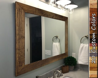 Shiplap Reclaimed Styled Wood Framed Mirror, 20 Stain Colors - Rustic Mirror, Bathroom Vanity Mirror, Large Wall Mirror, Mirror for Wall