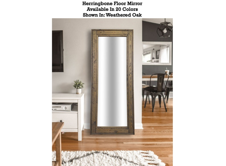 Herringbone Full Length Floor Mirror Decorative Rustic Wood Frame Leaning Wood Mirror Shown In Weathered Oak Available In 20 Colors