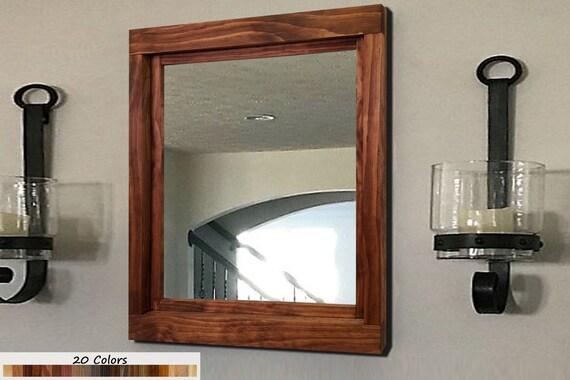 Farmhouse Mirror Wall Decor Rustic Wood Frame Mirror Wall Etsy