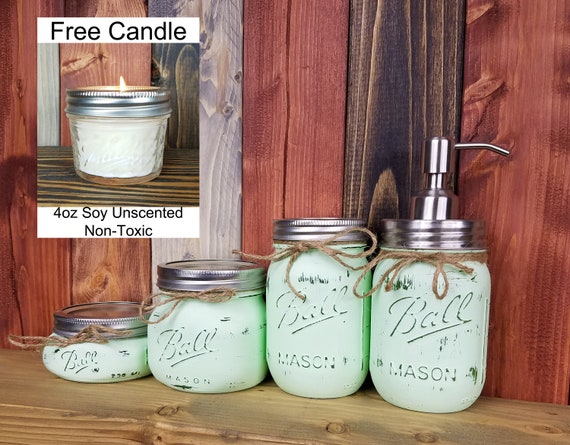 Set of 2 Miniature Mason Jar Small Mouth for Candles or Soap Pump Dispenser
