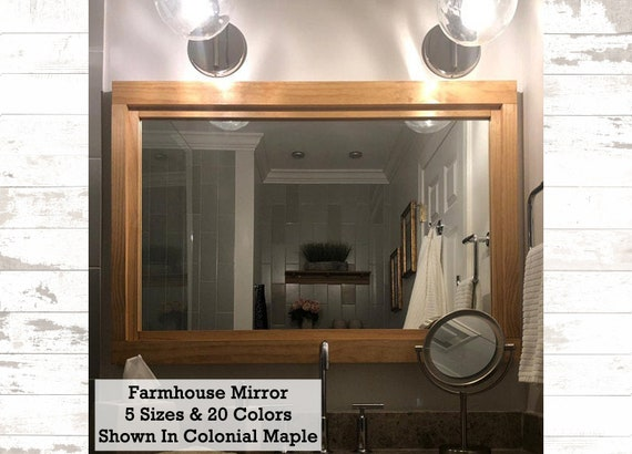 Farmhouse Mirror Wall Decor Rustic Wood Frame Bathroom Mirror Bathroom Decor Vanity Mirror 5 Sizes 20 Colors Colonial Maple