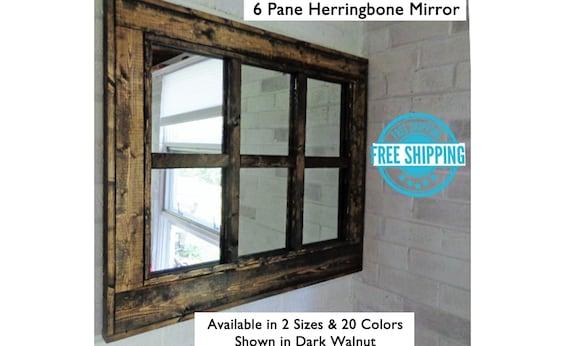 Herringbone Window 6 Pane Mirror, 6 Pane Window Frame Mirror