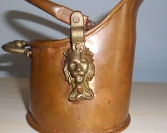 Lion Head handle small Pot, Copper and Brass Coal suttle pot