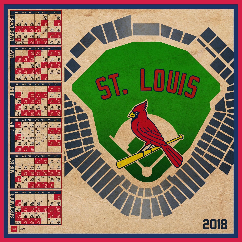 st. louis cardinals 2018 schedule print | etsy